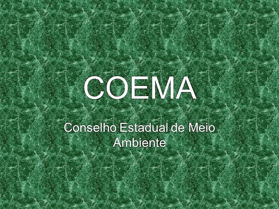 Arte meramente ilustrativa com predominância da cor verde, com o seguinte texto: COEMA - Conselho Estadual do Meio Ambiente