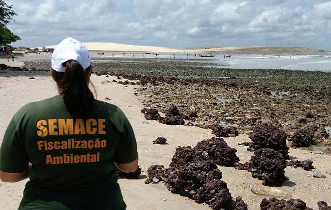 Fiscal da Semace visto de costas observa a praia da Vila de Jericoacoara
