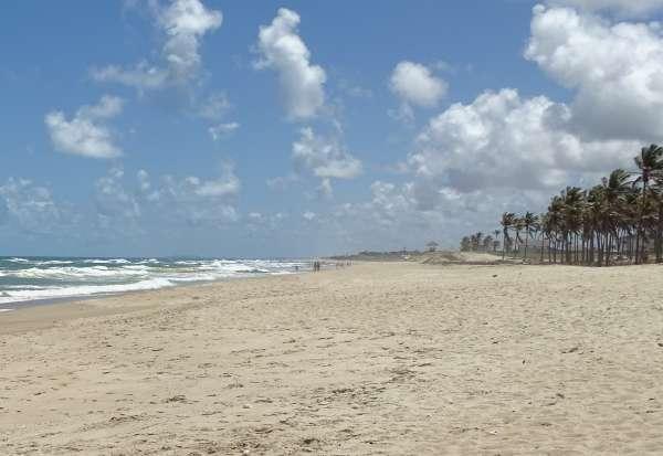 Praia com sol e mar aberto