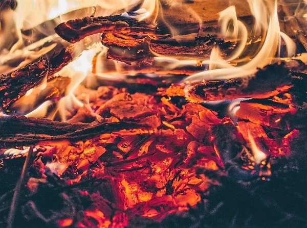 Madeira pegando fogo em incêndio florestal