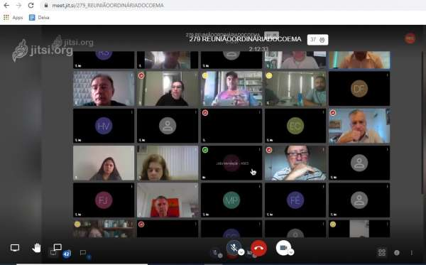 Imagem da reunião virtual na tela do computador