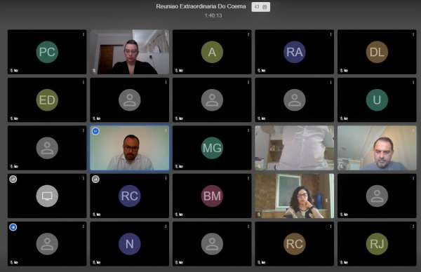 Participantes da reunião virtual do Coema na tela do computador